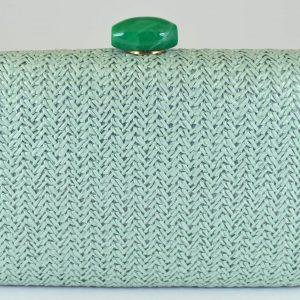 bolso fiesta rafia verde mint cierre resina 1